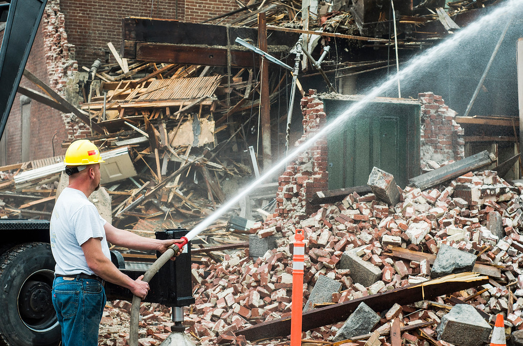 . Demolition of Fitchburg\'s former Central Fire Station on Oliver Street continued on Saturday, February 25, 2017. SENTINEL & ENTERPRISE / Ashley Green