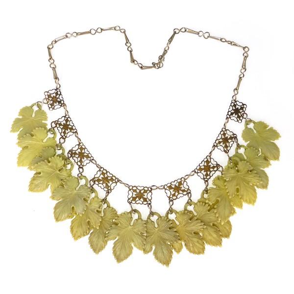 Vintage Mid Century Green Lucite Leaf Panel Necklace