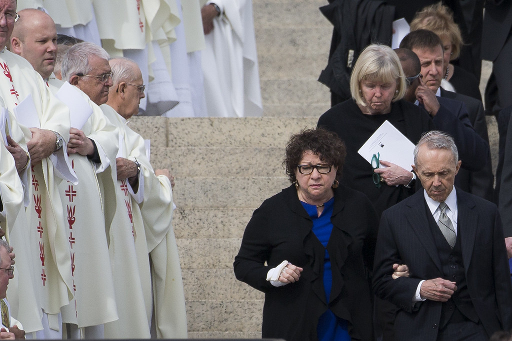 . From center left, Supreme Court Justice Sonia Sotomayor and former Justice David Souter walk down the steps of the Basilica of the National Shrine of the Immaculate Conception at the end of the funeral for late Supreme Court justice Antonin Scalia, February 20, 2016 in Washington, DC. Scalia, who died February 13 while on a hunting trip in Texas, layed in repose in the Great Hall of the Supreme Court on Friday and his funeral service will be at the basillica today.  (Photo by Drew Angerer/Getty Images)
