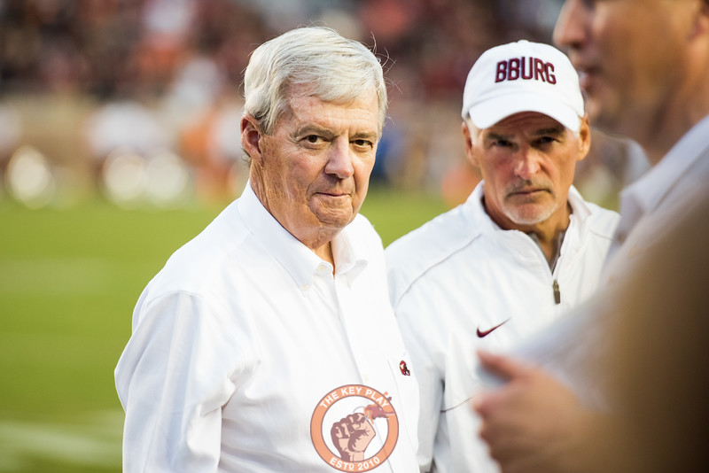 Frank Beamer waits for a moment with the media prior to the matchup between Virginia Tech and Florida State at Doak Campbell Stadium, Monday, Sept. 3, 2018. (Photo by Cory Hancock)