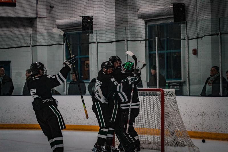 Holy Family Boys Varsity Hockey vs. Elk River, 12/27/19: Trey Fechko '22 (5)