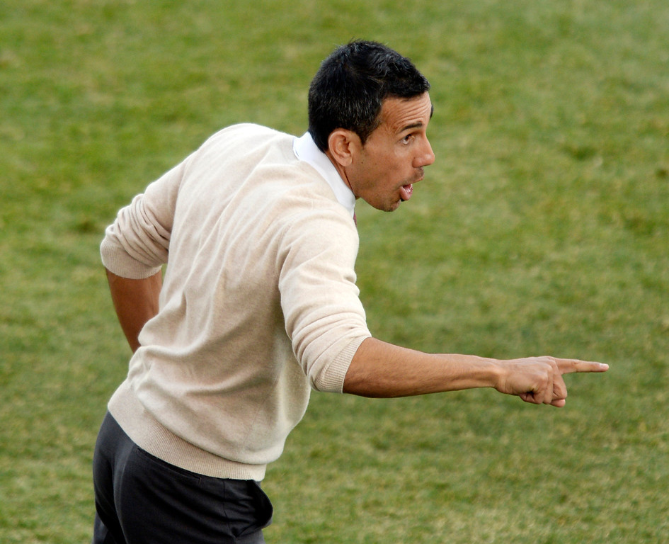 . Colorado coach Pablo Mastroeni called for a substitute after Marrvell Wynne\'s red card in the second half. Sporting Kansas City defeated the Colorado Rapids 3-2 Saturday evening, March 29, 2014 at Dick\'s Sporting Goods Stadium in Commerce City.  (Photo by Karl Gehring/The Denver Post)