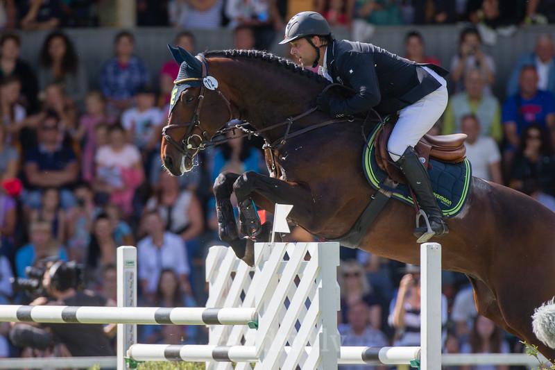 Urmas RAAG (EST) with the horse CARLOS, World Cup competition, Grand Prix Riga, CSI2*-W, CSIYH1* - Riga 2016, Latvia