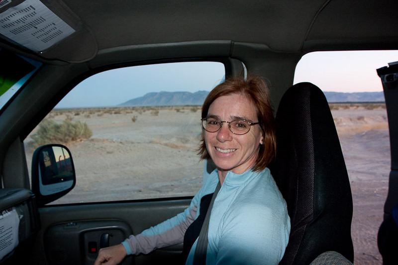 Zipping through the desert near Borrego Springs.