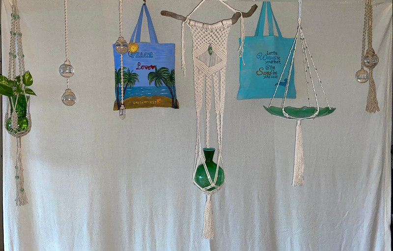 Macrame Planters, Canvas Bags, Sand-filled Ornaments