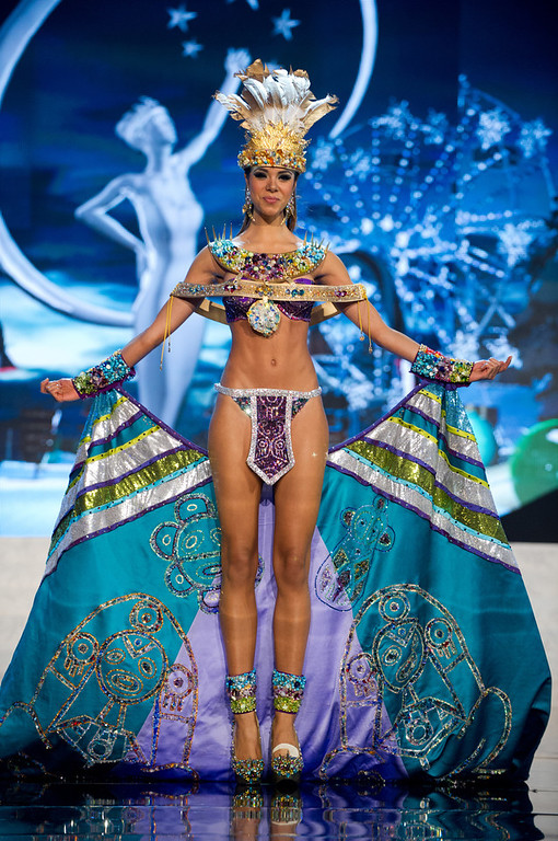. Miss Puerto Rico 2012, Bodine Koehler, performs onstage at the 2012 Miss Universe National Costume Show on Friday, Dec. 14, 2012 at PH Live in Las Vegas, Nevada. The 89 Miss Universe Contestants will compete for the Diamond Nexus Crown on Dec. 19, 2012. (AP Photo/Miss Universe Organization L.P., LLLP)