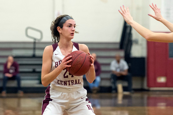 01/10/20 Wesley Bunnell | StaffrrThe Bristol Central girls basketball team was defeated at home on Friday night by Berlin. Sophia Torreso (24) looks to pass.