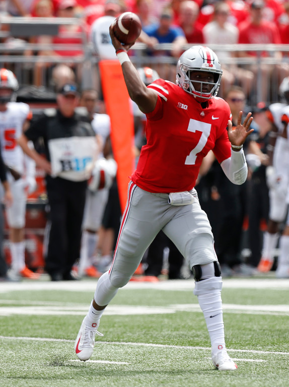 . Ohio State quarterback Dwayne Haskins throws a pass against Oregon State during the first half of an NCAA college football game Saturday, Sept. 1, 2018, in Columbus, Ohio. (AP Photo/Jay LaPrete)