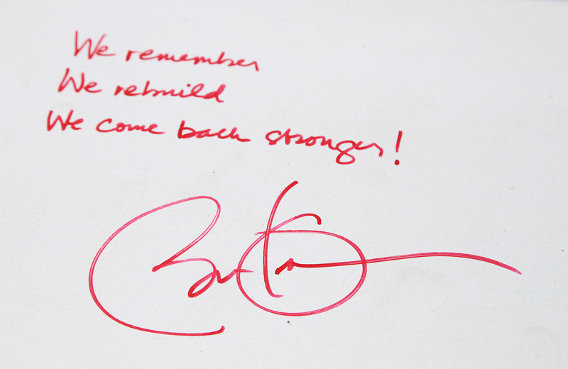 . This Aug. 2, 2012 file photo shows President Barack Obama\'s message and signature on a steel beam at One World Trade Center in New York. The presidentís words will join those of numerous construction workers at the site who left personal messages on the beams, when they will be sealed behind the facade of the buildings as they progress toward their 2014 completion date. (AP Photo/Mark Lennihan, File)
