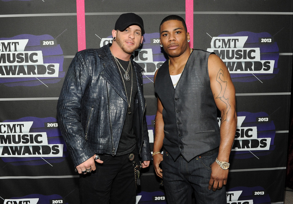 . Brantley Gilbert, left, and Nelly arrive at the 2013 CMT Music Awards at Bridgestone Arena on Wednesday, June 5, 2013, in Nashville, Tenn. (Photo by Frank Micelotta/Invision/AP)