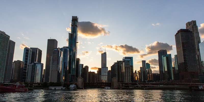 Chicago Skyline Silhouetted Against the Sun