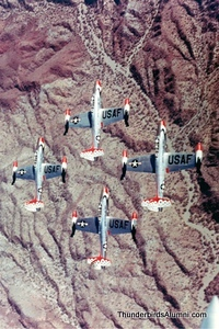 F-84 Thunderjet - Republic Aviation-1953 thru 1954 - 132 flights / Thunderstreak - Republic Aviation- 1955 thru 1956- 90 flights