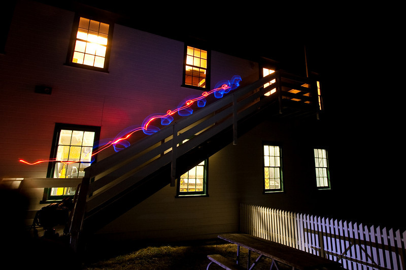 Light painting on stairs of boathouse at Pt. Reyes