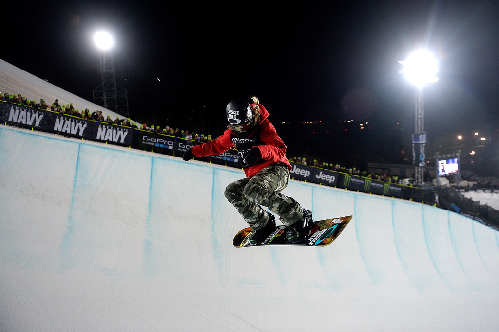 . Gretchen Bleiler makes a hit during the women\'s snowboard halfpipe. X Games Aspen at Buttermilk on Friday, January 25, 2014. (Photo by AAron Ontiveroz/The Denver Post)