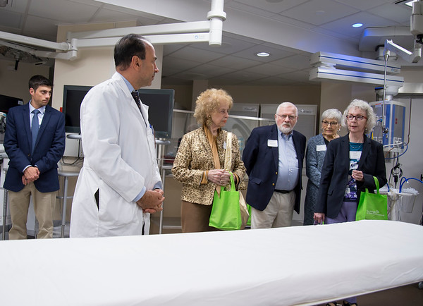 09/18/19 Wesley Bunnell | StaffrrThe Hospital of Central Connecticut held a community forum open to the public on Wednesday night. Andre Ghantous M.D. answers questions during a tour of the cardiac cath lab.