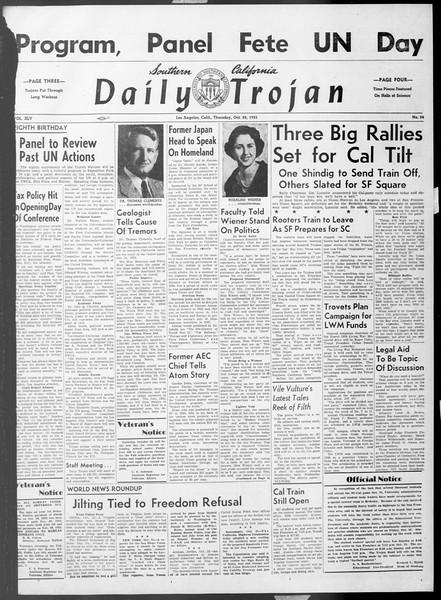 Daily Trojan, Vol. 45, No. 24, October 22, 1953