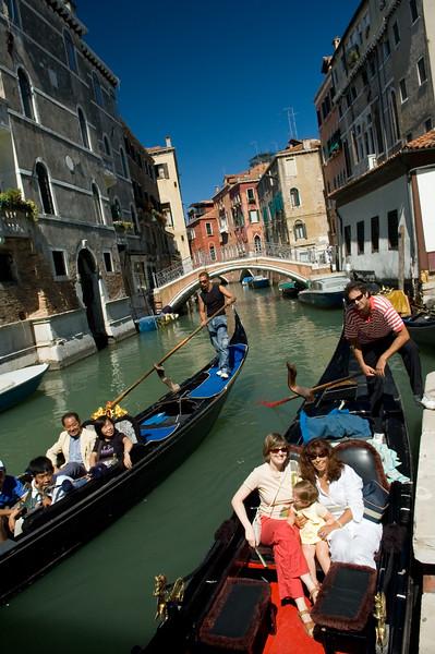 Visitors on gondolas, Venice, Italy
