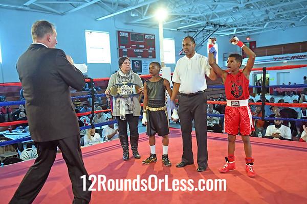Bout 3 Ryan Williams, Red Gloves, Team Cartel, Toledo -vs- Abdullah Mason, Blue Gloves, Kingdoms Fitness BC, Cleveland, 85 Lbs