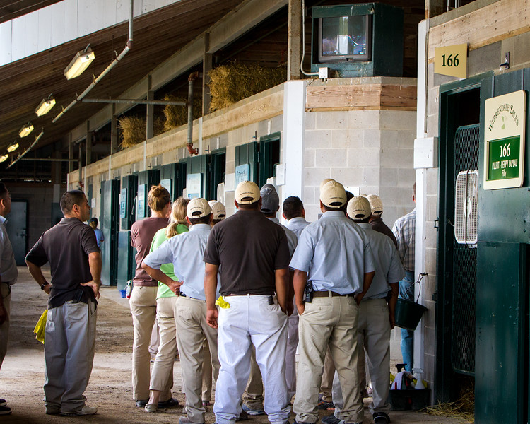 Warrendale Sales workers in the barns watching one of the Warrendale horses going through the ring during the Keeneland Yearling Sales