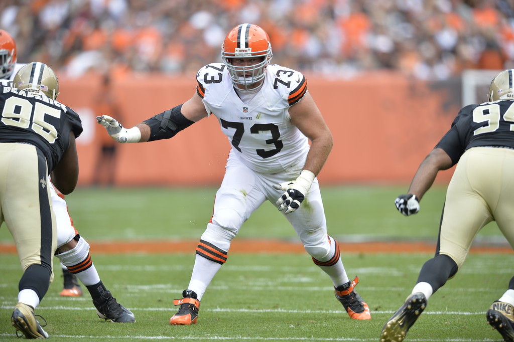 . Cleveland Browns tackle Joe Thomas (73) blocks during an NFL football game against the New Orleans Saints Sunday, Sept. 14, 2014, in Cleveland. Cleveland won 26-24. (AP Photo/David Richard)