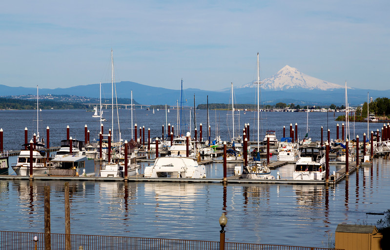 Our Hayden Island moorage with Mt. Hood in the background