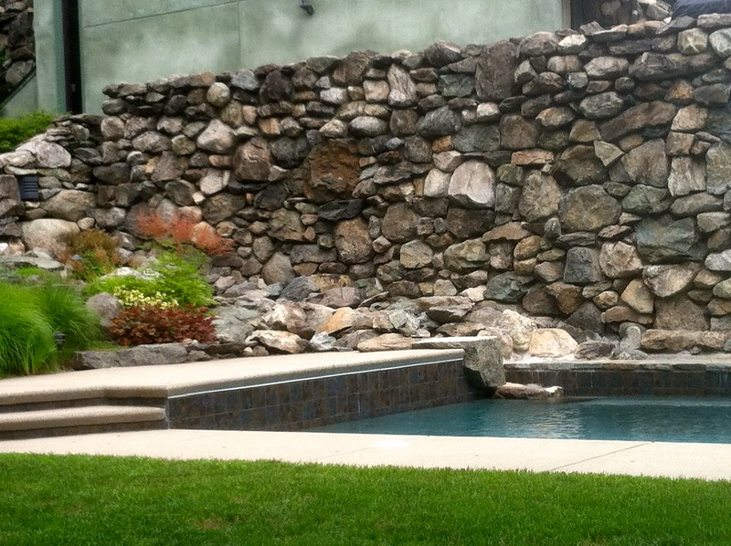 Pool and rock wall