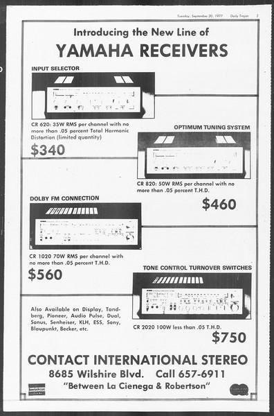 Daily Trojan, Vol. 72, No. 2, September 20, 1977
