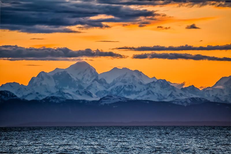 Sunset in Glacier Bay in Alaska