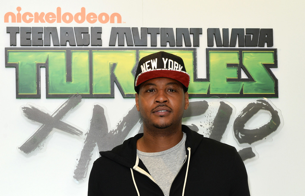 . Basketball player Carmelo Anthony attends his launch of TMNT X Melo hosted by Macy\'s at Hearld Square on May 21, 2016 in New York City.  (Photo by Andrew Toth/Getty Images for Nickelodeon)