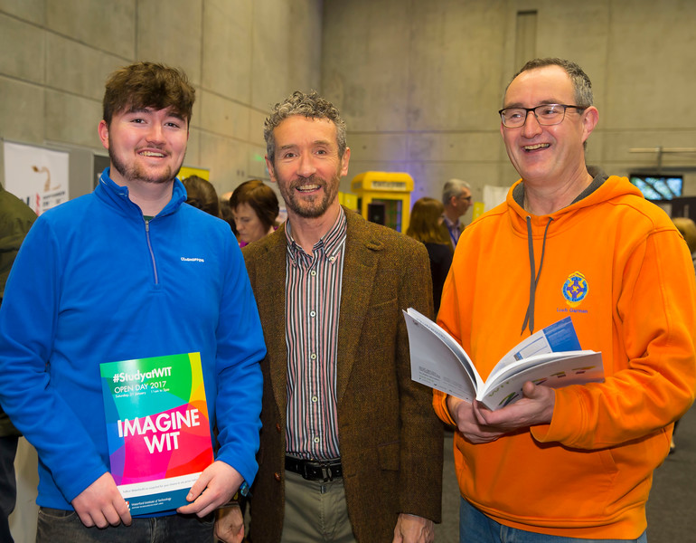 21/01/2017.  Waterford Institute of Technology (WIT) open day at WIT Arena. Pictured are John Walsh Waterford, Barry Kennedy WIT and Mick Walsh from Waterford. Picture: Patrick Browne