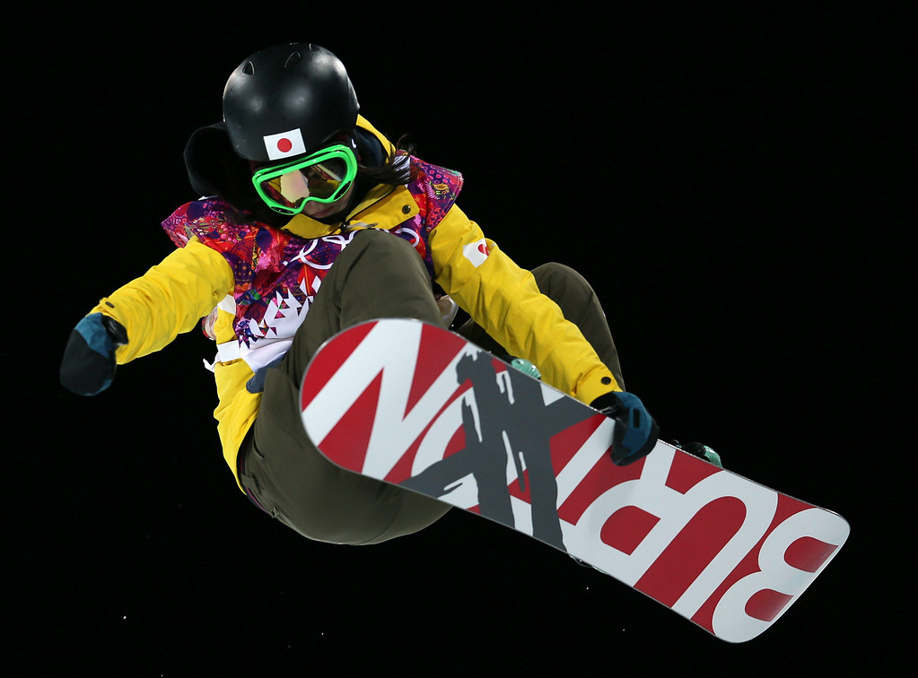 . Rana Okada of Japan in action during the Women\'s Snowboard Halfpipe Semifinal at Rosa Khutor Extreme Park during the Sochi 2014 Olympic Games, Krasnaya Polyana, Russia, 12 February 2014.  EPA/SERGEY ILNITSKY