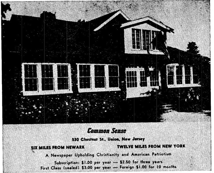 """Located at 530 Chestnut Street at the South West corner of Colonial ave this house was demolished to build something in the future.. This building was renovated and once housed the Anti- Communist and Anti -Semetic newspaper named """"Common Sense"""" in the 50's. The paper claimed to have 50,000 subscribers at one time and was run by Conde McGinley who died in Union in 1963. http://en.wikipedia.org/wiki/Conde_McGinley http://news.google.com/newspapers?nid=1902&dat=19551202&id=6VEfAAAAIBAJ&sjid=RNIEAAAAIBAJ&pg=1301,3137331  Link to a 1954 report from the committee on Un-American Activities: http://debs.indstate.edu/u588n4_1954.pdf  Link to an article about a financier and writer for Common Sense: http://www.natvan.com/adv/2004/11-20-04.html"""
