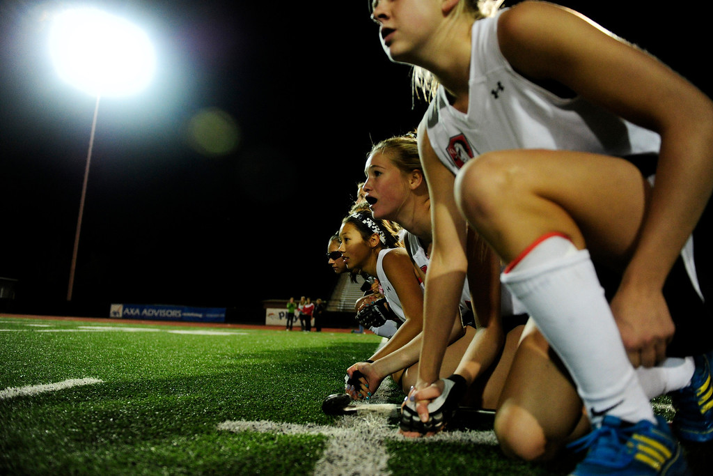 . Palmer Ridge\'s Sterre Van Ede watches the shootout with teammates during Colorado Academy\'s 3-2 shootout win on Monday, October 29, 2012. AAron Ontiveroz, The Denver Post