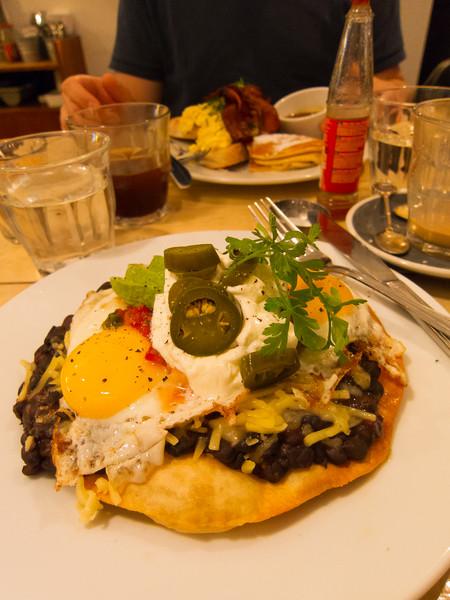 Breakfast huevos rancheros at Bakers and Roasters.