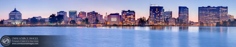 Oakland-Lake Merritt Twilight (Super-HD Panorama) 20,000x4000 pixels/300dpi.