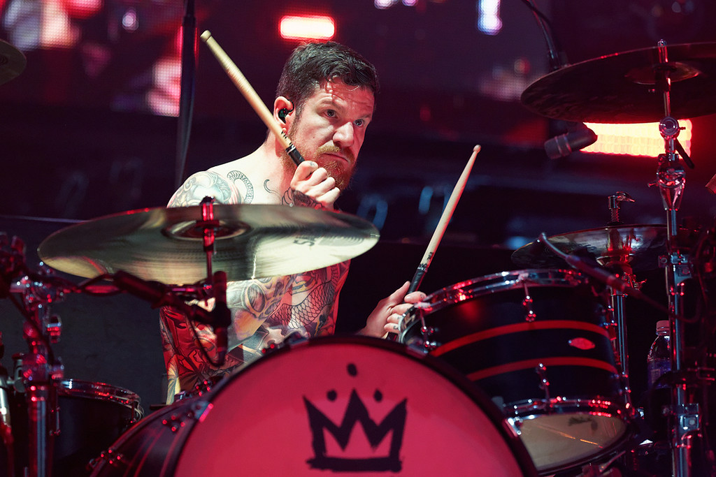 . Fall Out Boy\'s Andy Hurley at DTE on 7-8-14. Photo by Ken Settle