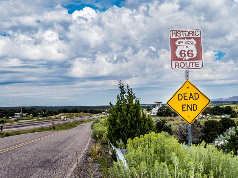Route 66 road sign dead end