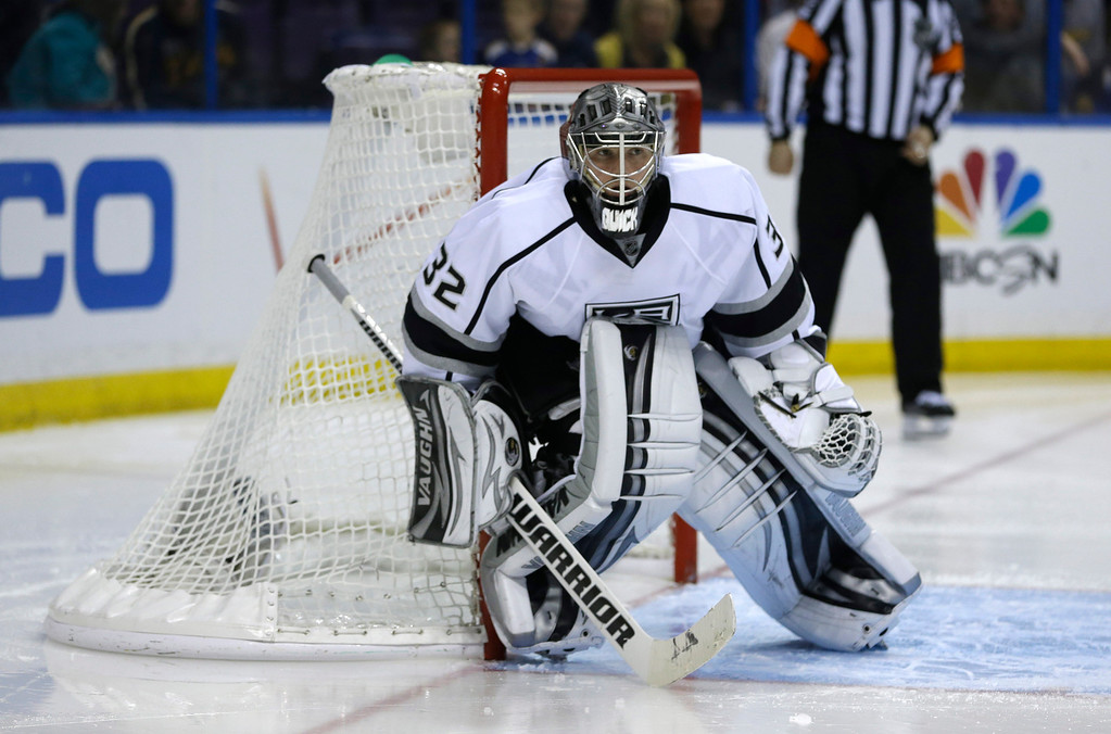 . Los Angeles Kings goalie Jonathan Quick in goal during overtime in Game 5 of a first-round NHL hockey Stanley Cup playoff series, Wednesday against the St. Louis Blues, May 8, 2013, in St. Louis. The Kings won 3-2. (AP Photo/Jeff Roberson)