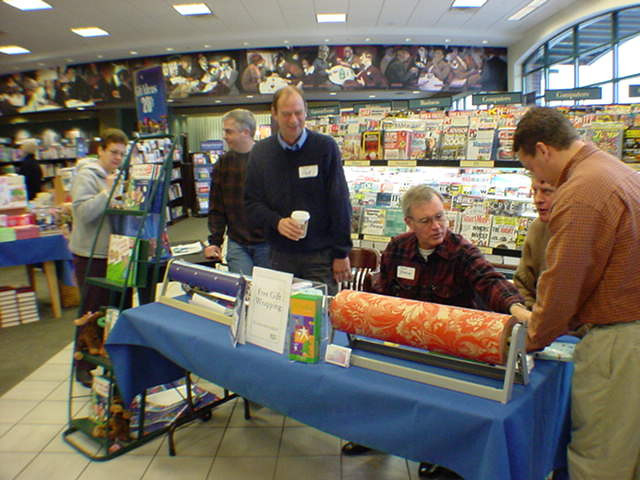 2003-12-14 - Small group helping wrap books at Barnes and Nobel