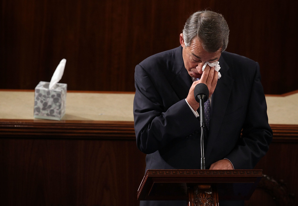 . Outgoing U.S. Speaker of the House Rep. John Boehner (R-OH) wipes his eye as he gives his farewell speech in the House Chamber of the Capitol October 29, 2015 on Capitol Hill in Washington, DC. The House of Representatives is scheduled to vote for a new speaker to succeed Boehner today.  (Photo by Alex Wong/Getty Images)