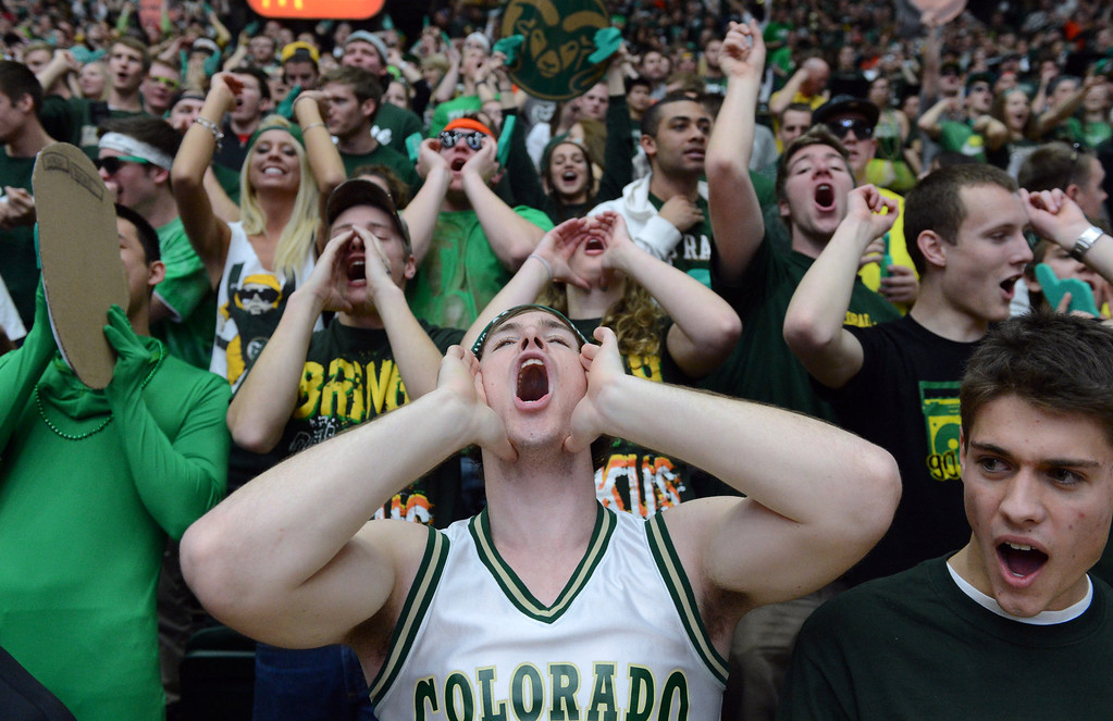 . Fort COLLINS, CO. - FEBRUARY 23: Colorado State students Braxton Jennings joins the crowd in cheering on the mens basketball team at Moby Arena in Fort Collin, CO February  24, 2013. The Colorado State Rams mens basketball team lost to the New Mexico Lobos, 82-91. (Photo By Craig F. Walker/The Denver Post)