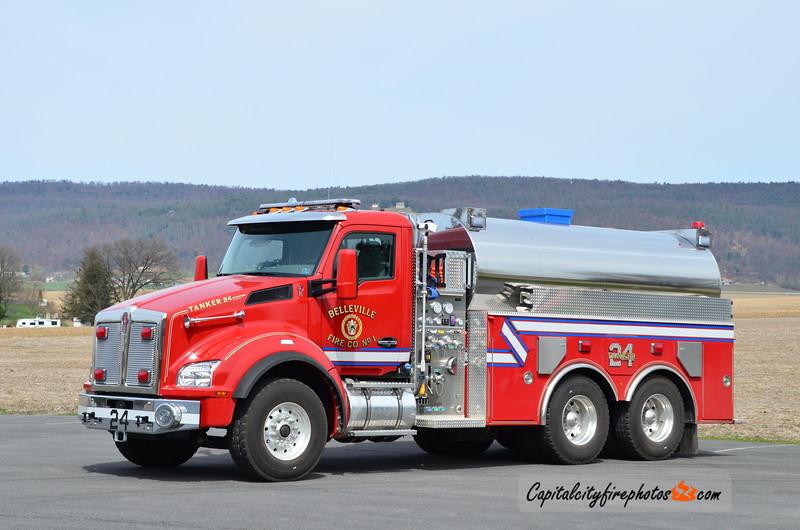 Belleville Fire Co. (Union Township) Tanker 24: 2017 Kenworth/Summit Fire Apparatus 1000/3000