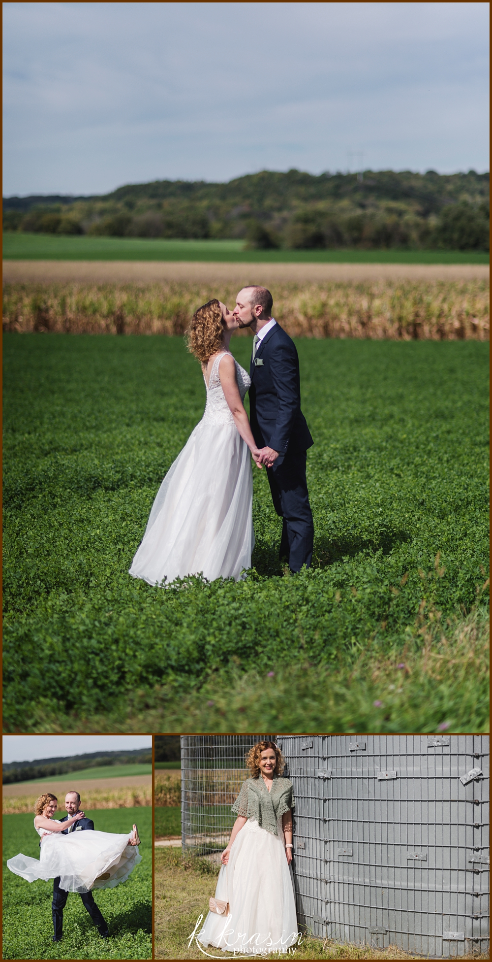 Collage of photos of bride and groom in field
