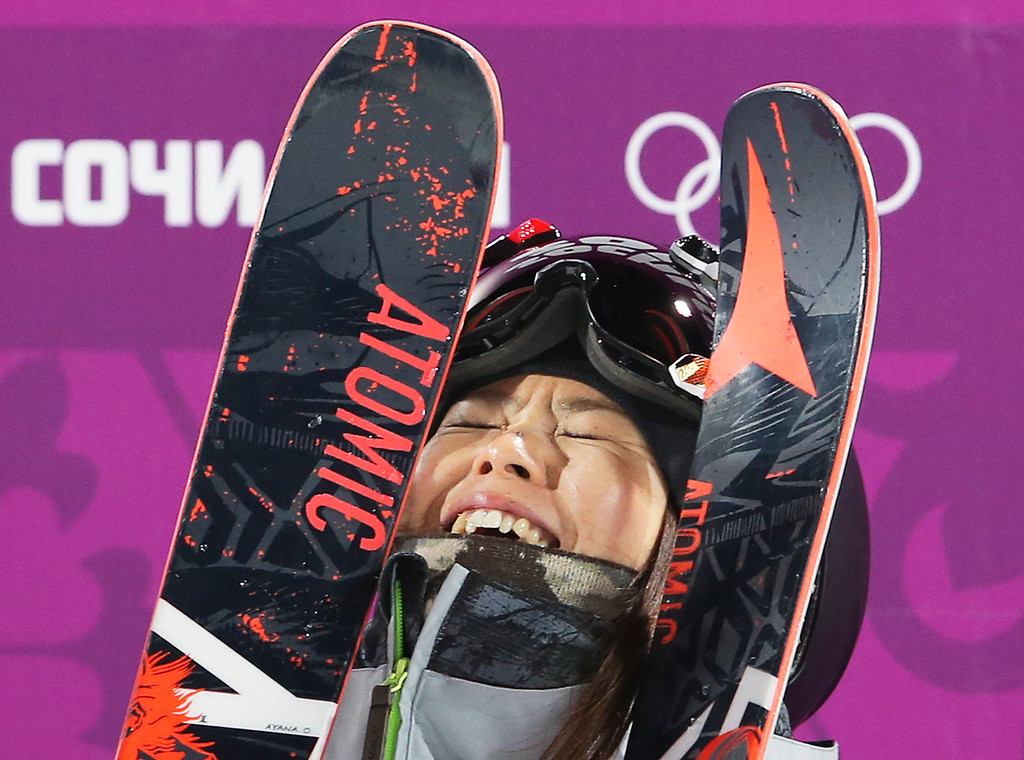 . Japan\'s Ayana Onozuka reacts after her second run in the women\'s ski halfpipe final at the Rosa Khutor Extreme Park, at the 2014 Winter Olympics, Thursday, Feb. 20, 2014, in Krasnaya Polyana, Russia. (AP Photo/Sergei Grits)