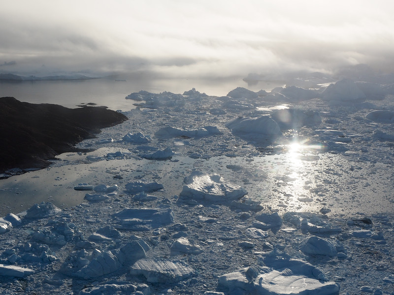 Flying above the Ilulissat Icefjord