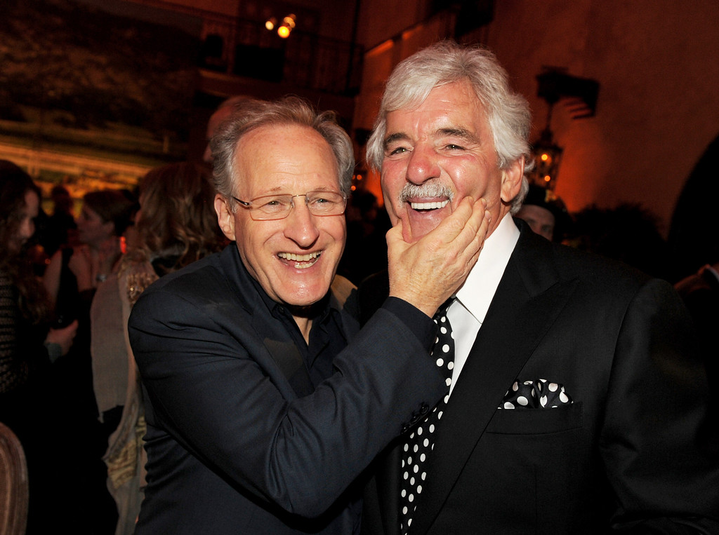 """. Executive producer/director Michael Mann (L) and actor Dennis Farina pose at the after party for the premiere of HBO\'s \""""Luck\"""" at the Roosevelt Hotel on January 25, 2012 in Los Angeles, California.  (Photo by Kevin Winter/Getty Images)"""