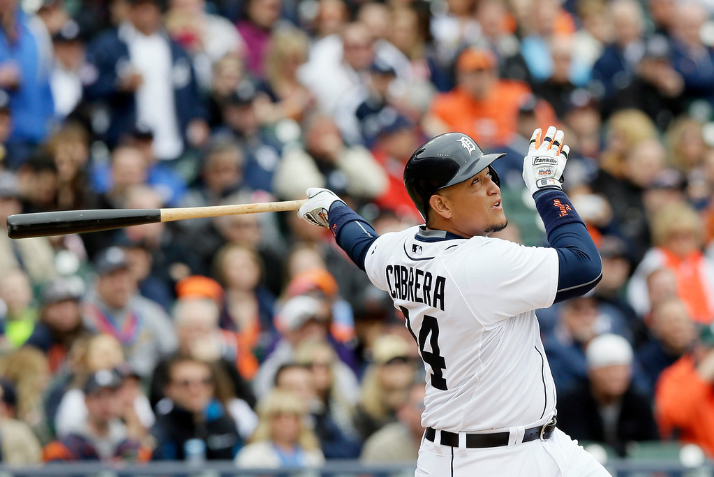 . Detroit Tigers\' Miguel Cabrera bats during the second inning of an opening day baseball game against the Minnesota Twins in Detroit, Monday, April 6, 2015. (AP Photo/Carlos Osorio)