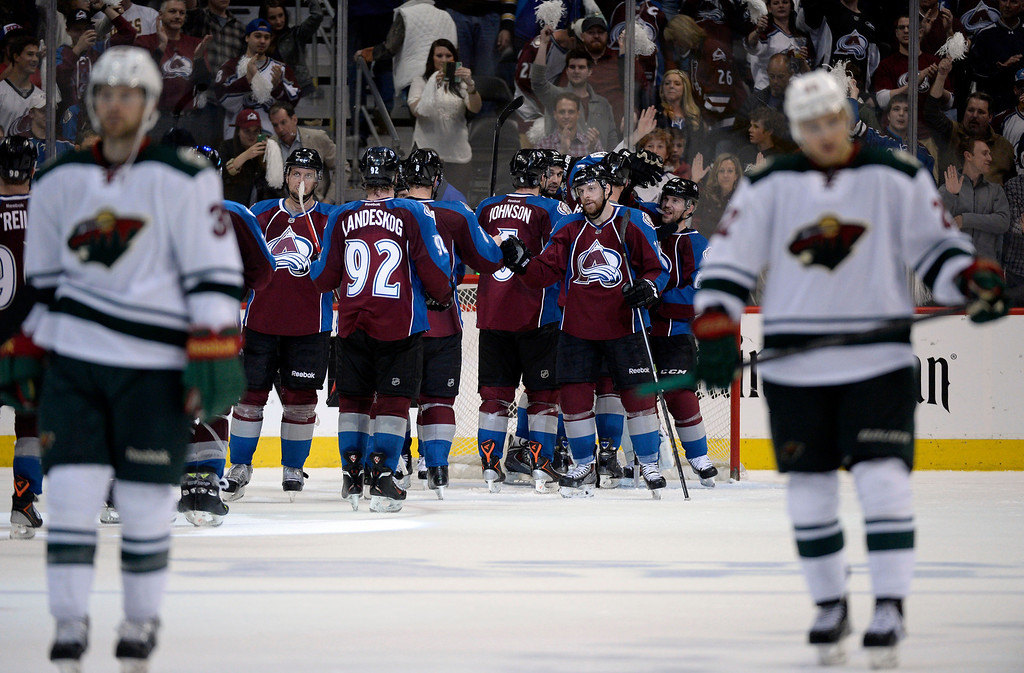 . The Avalanche celebrate after winning 4 to 2 over the Wild.  The Colorado Avalanche hosted the Minnesota Wild in the first round of the Stanley Cup Playoffs at the Pepsi Center in Denver, Colorado on Saturday, April 19, 2014. (Photo by John Leyba/The Denver Post)