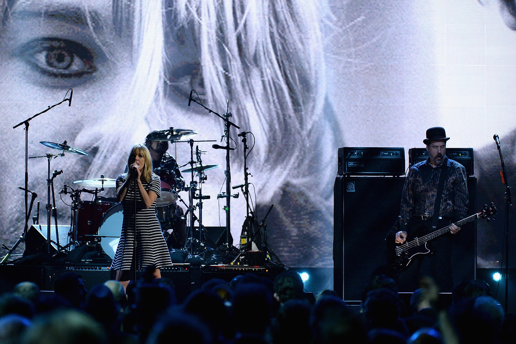 . Musician Kim Gordon and Krist Novoselic perform onstage at the 29th Annual Rock And Roll Hall Of Fame Induction Ceremony at Barclays Center of Brooklyn on April 10, 2014 in New York City.  (Photo by Larry Busacca/Getty Images)