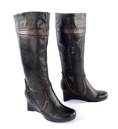 "Ruby Slipper Earthies ""Tarnow"" Heel (in Black & Chestnut), ""Skellig"" Olive Multi-Color Heel, & ""Newcastle"" Tall Wedge Boot in Black w/Brown Trim - Product Shots for Web Nov 4-5, 2012"